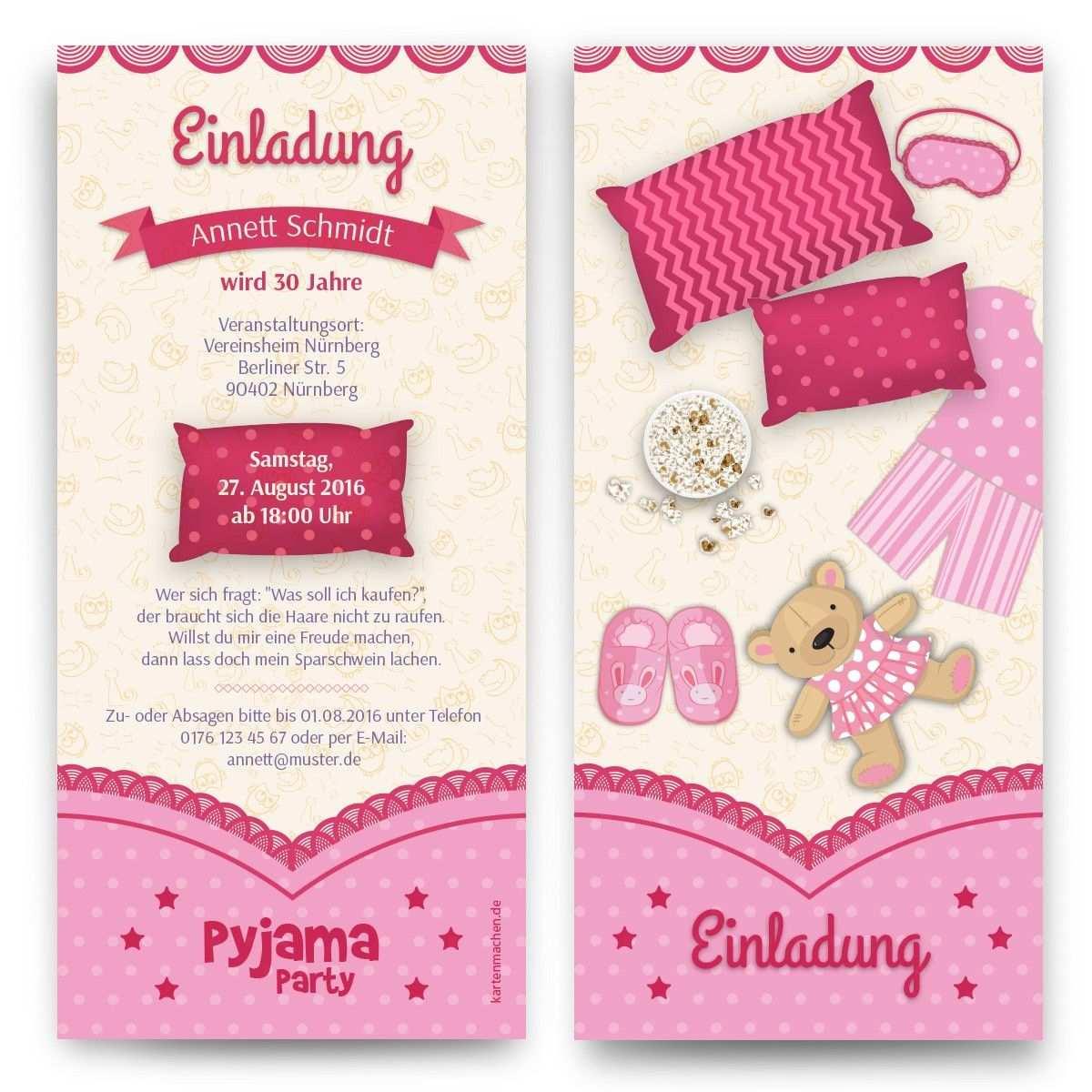 Einladungen Pyjama Party Einladung Geburtstag Einladung