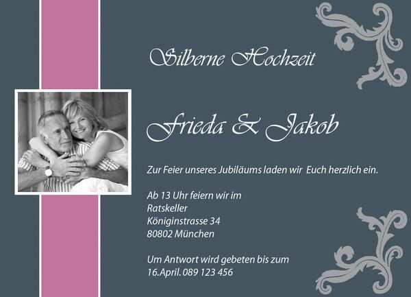 Silberne Hochzeit Karte Silberne Hochzeit Einladungskarten