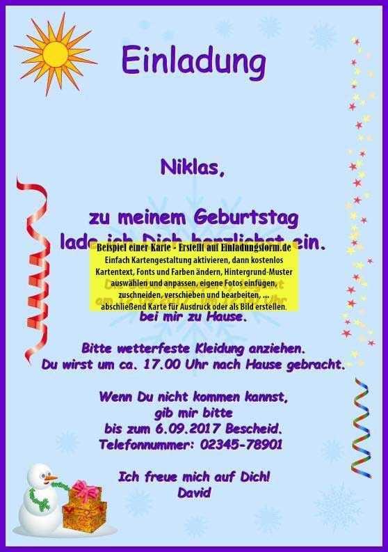 Einladung Zum Kindergeburtstag Schreiben Fresh Einladungskarte