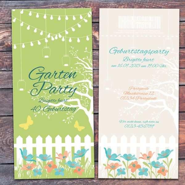 Einladung Geburtstag Karte Gartenparty Gartenfest Von