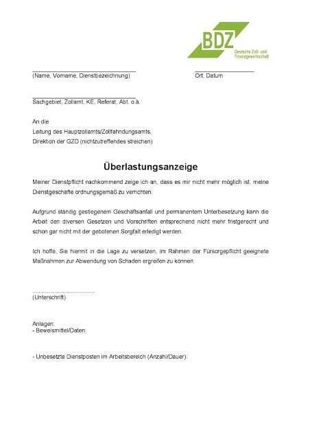 Bdz Uberlastungsanzeige 2 Muster Muster Bremen Zollamt