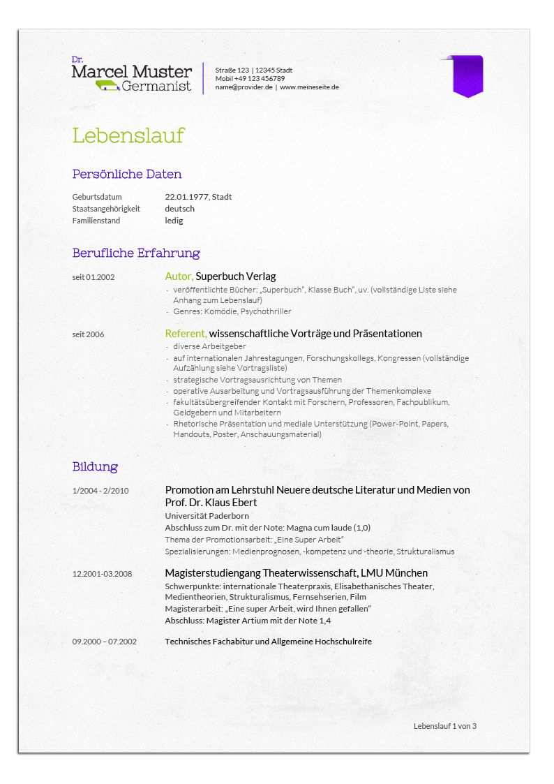 Bewerbungsdesign Germanist Lebenslauf Lebenslauf Bewerbung