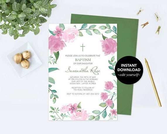 Madchen Taufe Einladung Floral Taufe Einladung Taufe Madchen