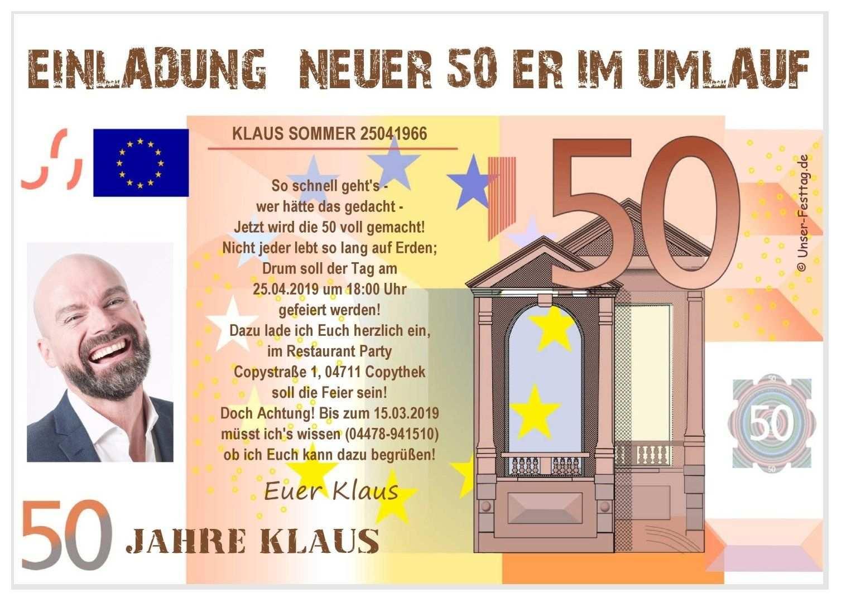 Einladungskarte Neuer 50er Mit Foto Einladung 50 Geburtstag
