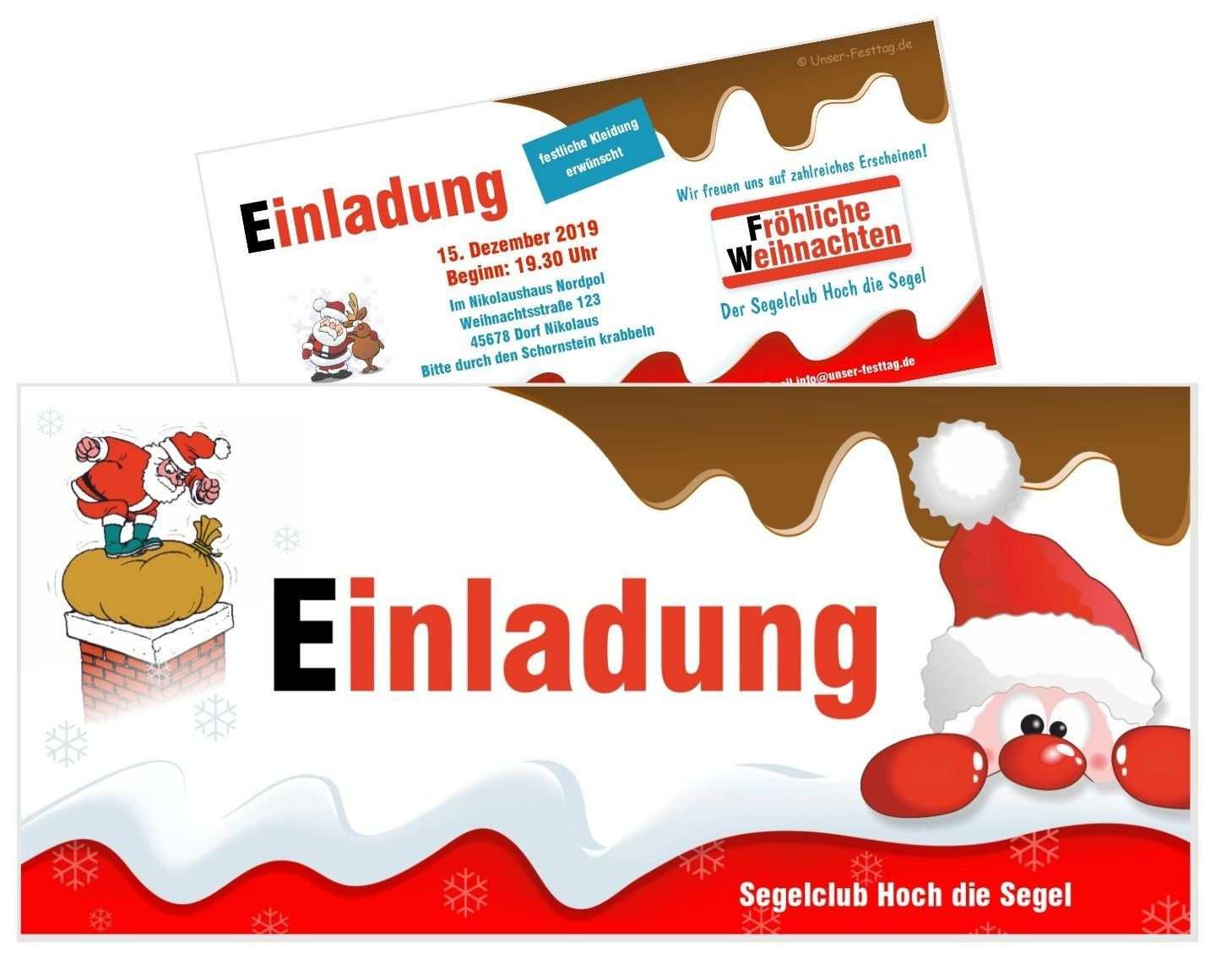Einladungskarte Schoko Mit Nikolaus Einladung Weihnachtsfeier