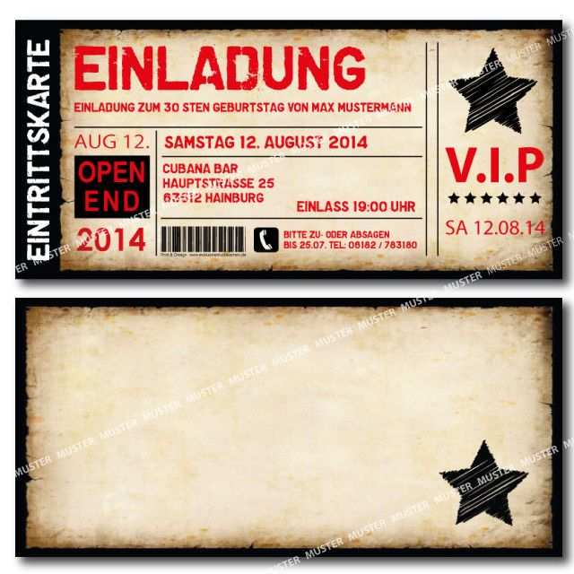 Einladungskarten Geburtstag Als Ticket Eintrittskarte Einladung