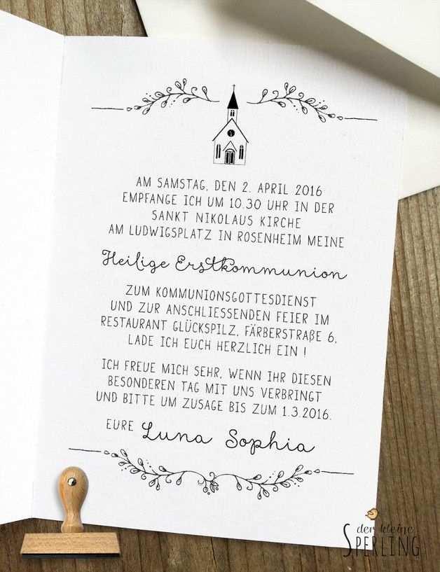 Ein Schoner Stempel Fur Eure Kommunionseinladung Im Stilvollen