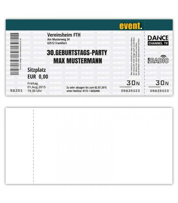 Einladungskarte Zum Geburtstag Als Eintrittskarte Ticket