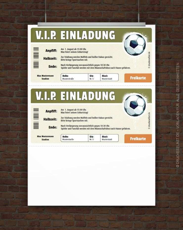 Kostenloses Vip Fussball Ticket Zum Selbstausdrucken Geschenkidee