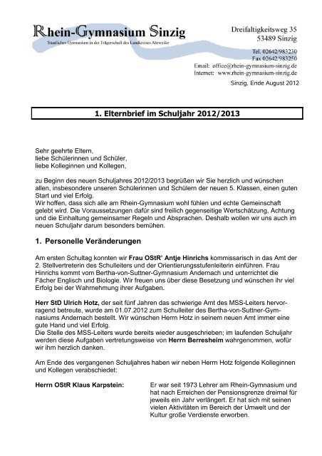 1 Elternbrief August 2012 Beim Rhein Gymnasium Sinzig