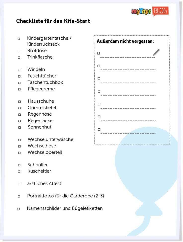 Checkliste Zur Einschulung Checkliste Einschulung Portfolio