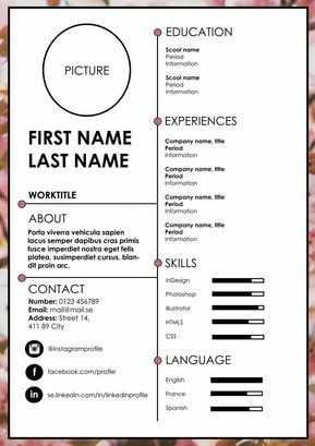 Resume Cv Resume Cv Englischer Lebenslauf Vorlage Bewerbung