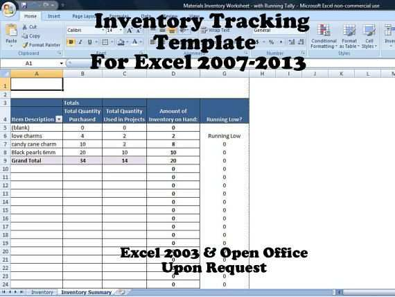 Inventory Tracking Template Calculates Running Tally Of Inventory