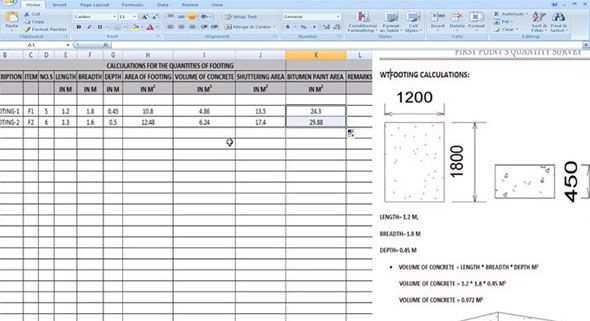 Some Useful Tips To Work Out The Footing Quantities With Excel