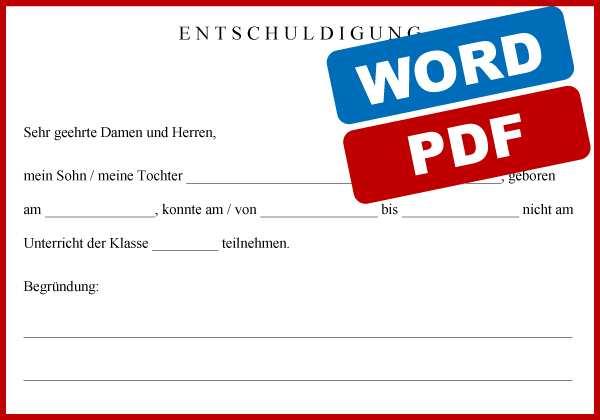Download Entschuldigung Fur Die Schule Word Pdf Convictorius