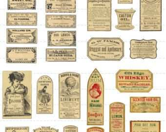 Digital Download Collage Sheet Antique 1800 S Vintage Druggists
