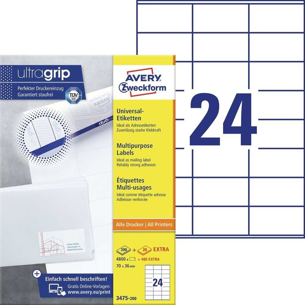 Universal Etiketten 3475 200 Avery Zweckform