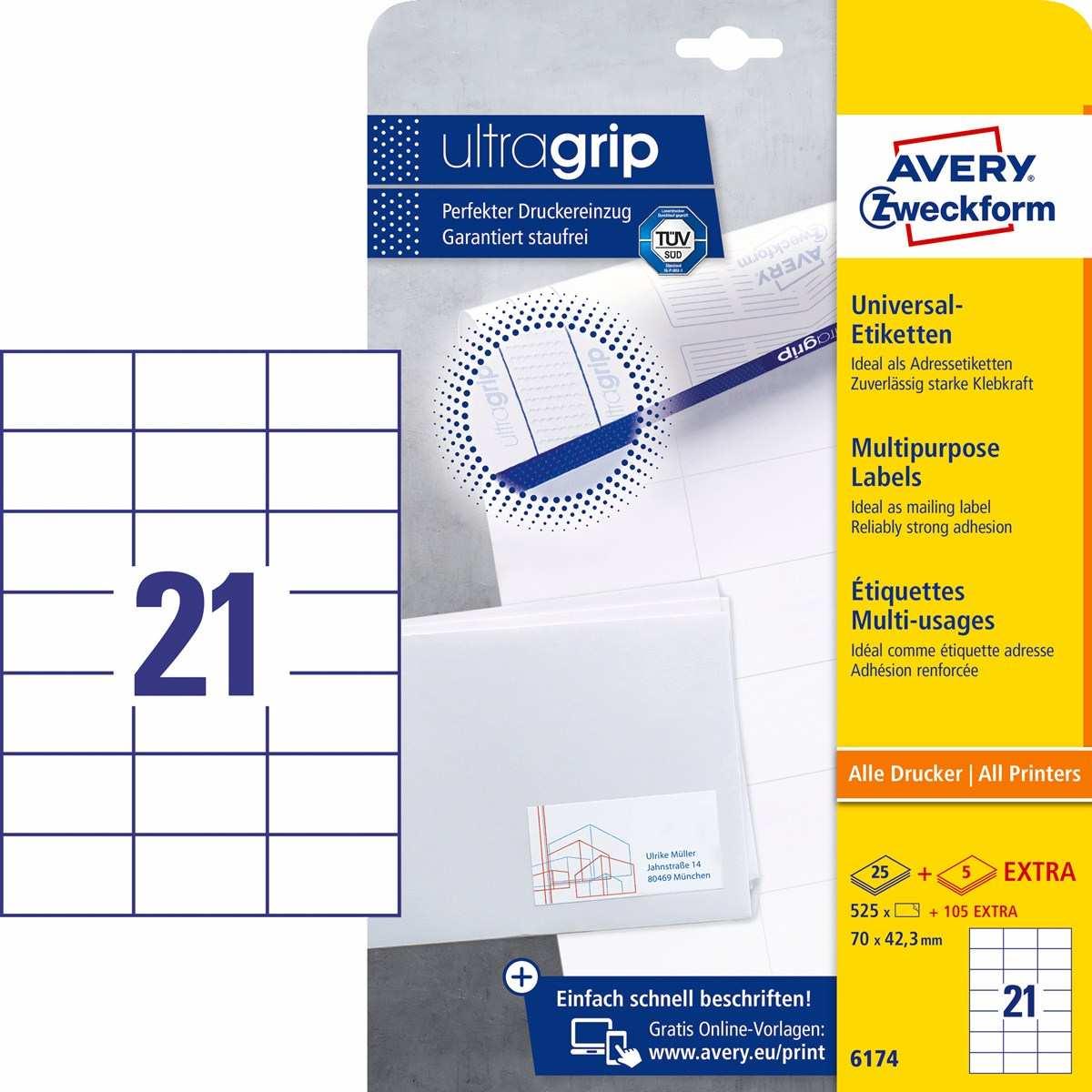 Avery Zweckform 6174 Universal Etiketten 70 X 42 3 Mm Weiss