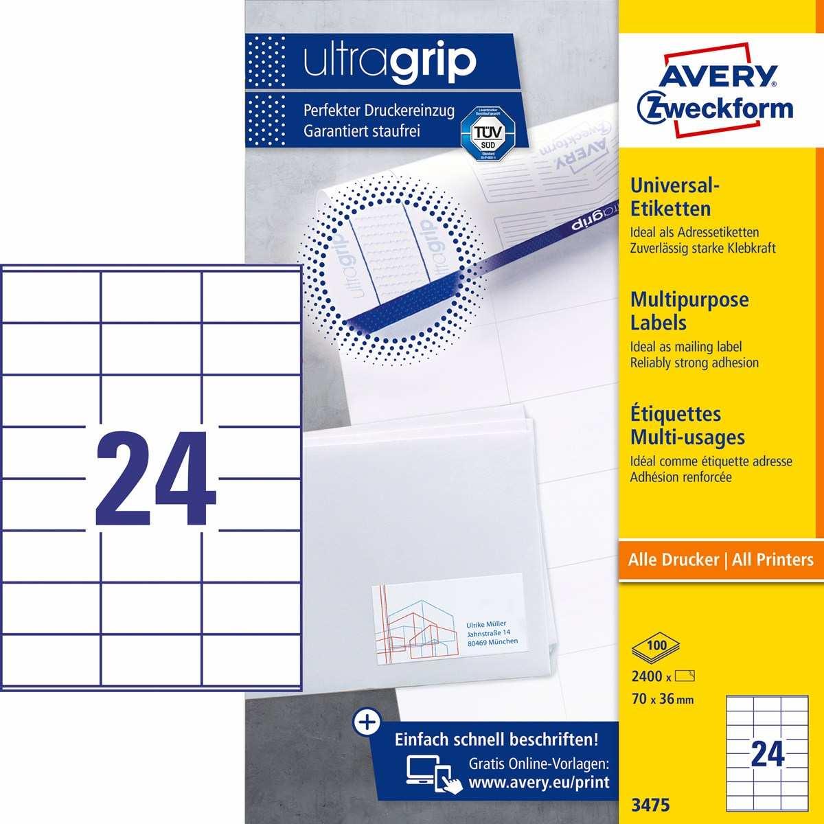 Avery Zweckform 3475 Universal Etiketten 70 X 36 Mm Weiss