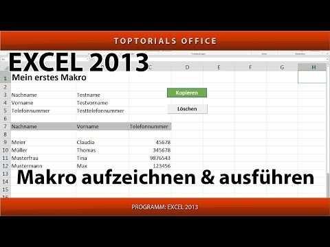 Makro Erstellen Und Ausfuhren Ganz Einfach Excel Youtube