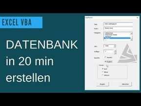 Excel Vba Datenbank Erstellen Userform Grundlagen Beispiel