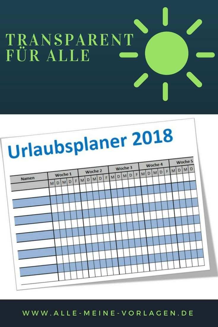 Einfacher Urlaubsplaner 2018 Einfacher Ferienplaner 2018 Excel
