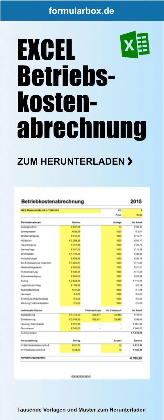 Excel Betriebskostenabrechnung Nebenkostenabrechnung Excel