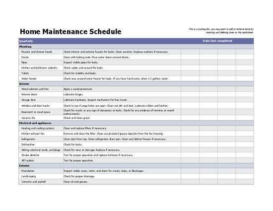 Home Wartungsplan Excel Vorlage Instandhaltungsarbeiten Vorlagen