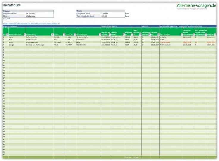 Inventory List Ist Eine Kostenlose Excel Vorlage Mit Der Sie Alle