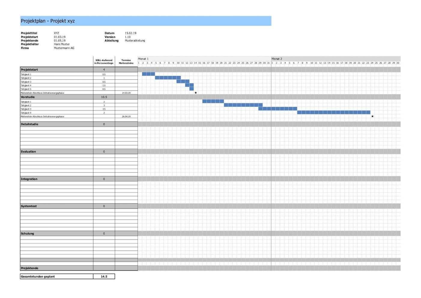 Projektplan Vorlage Im Excel Format Projektplan Vorlage