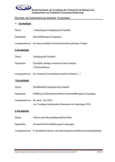 Handreichungen Zur Erstellung Der Facharbeit Im Egd Service De