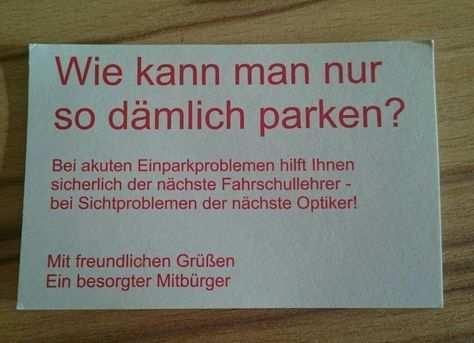 Visitenkarte Fur Falschparker Witzige Spruche Spruche Witzige