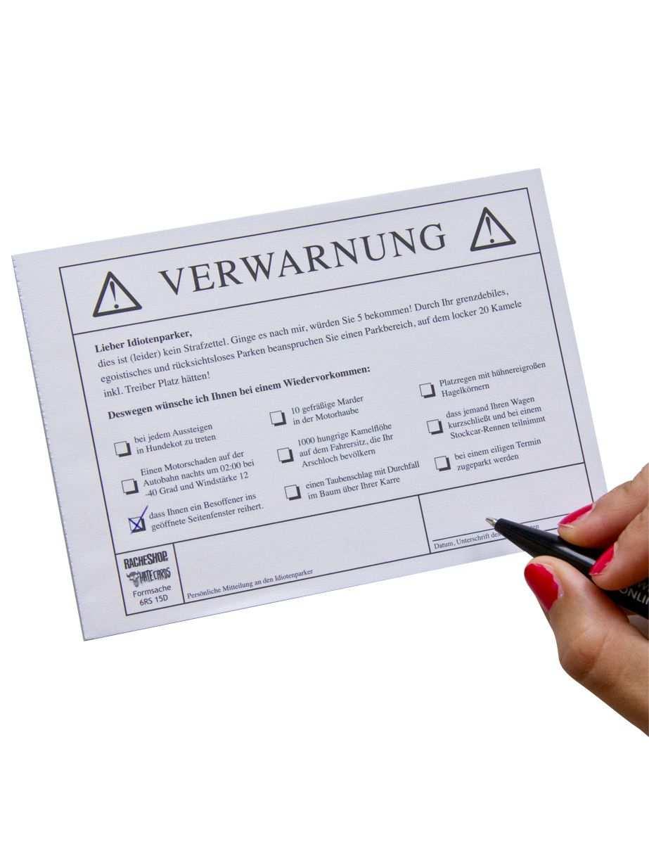 Falschparker Quittungsblock Scherzartikel Artikelnummer