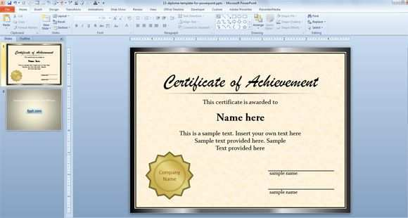 Free Diploma Certificate Template For Microsoft Powerpoint 2010