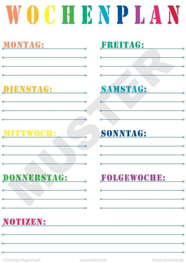 Printable Wochenplan Zum Kostenlosen Download Wochen Planer