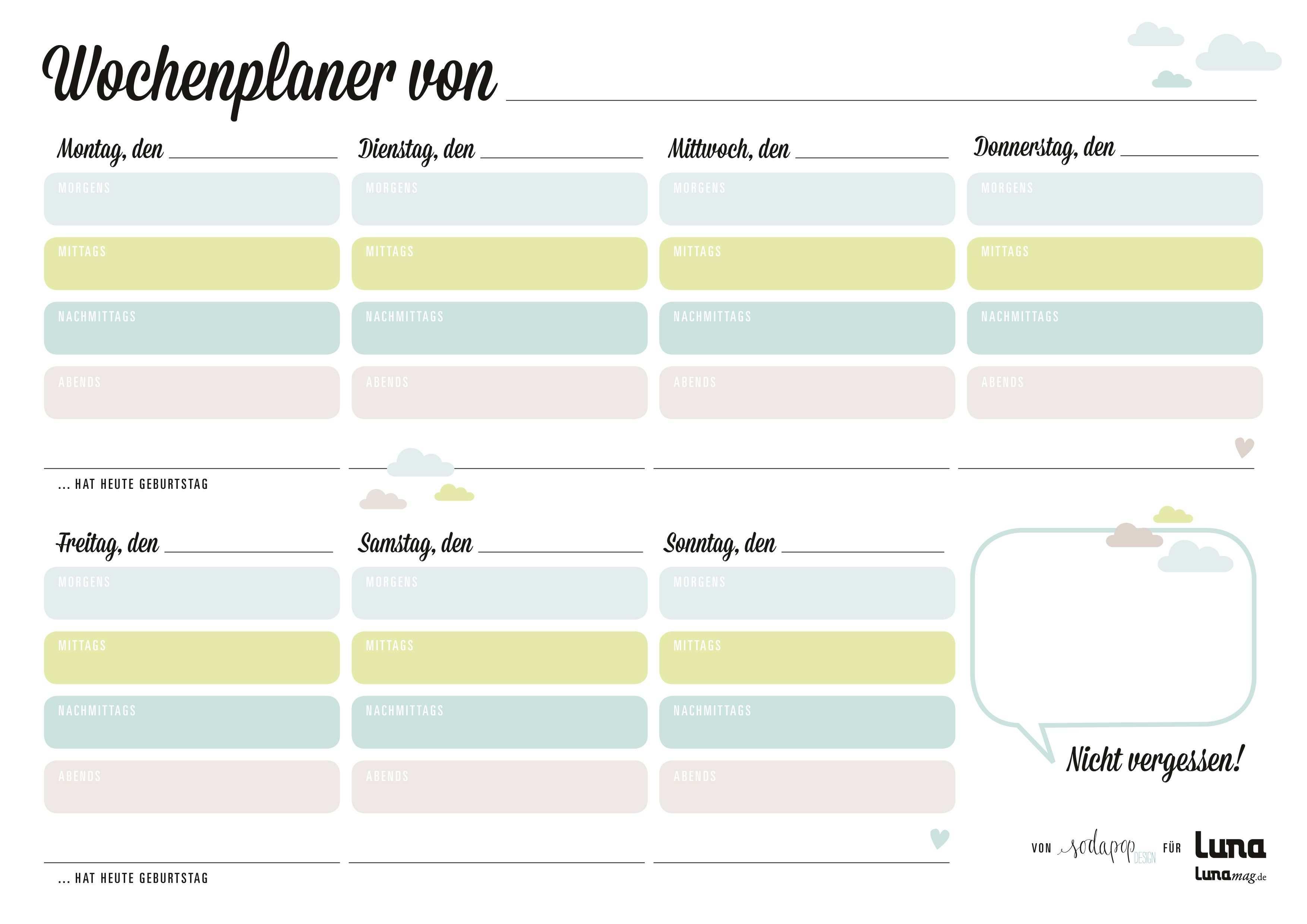 Wochenplaner Zum Download Planer Haushaltsplaner Und Wochen Planer