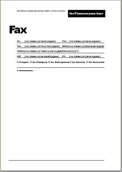 Faxvorlage 3 Office Lernen Com
