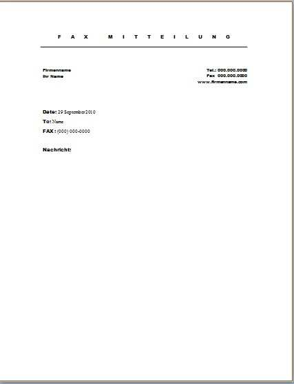 Faxvorlage 7 Office Lernen Com