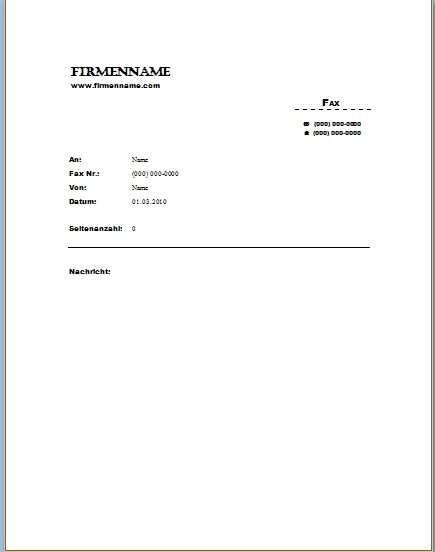 Faxvorlage 5 Office Lernen Com