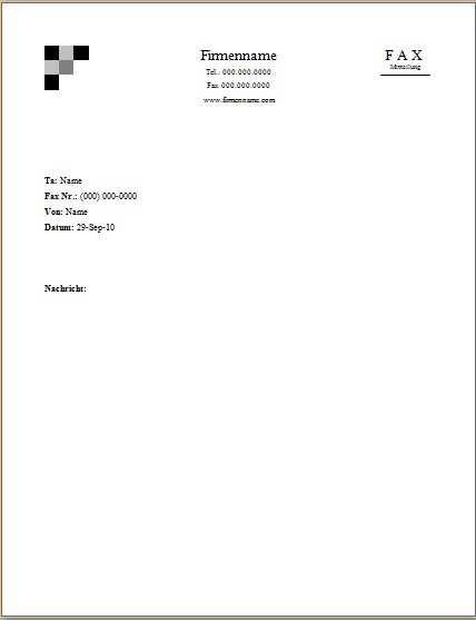 Faxvorlage 6 Office Lernen Com