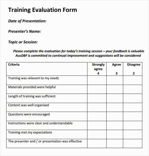 Training Evaluation Form Template Luxury Register Ordner Vorlage