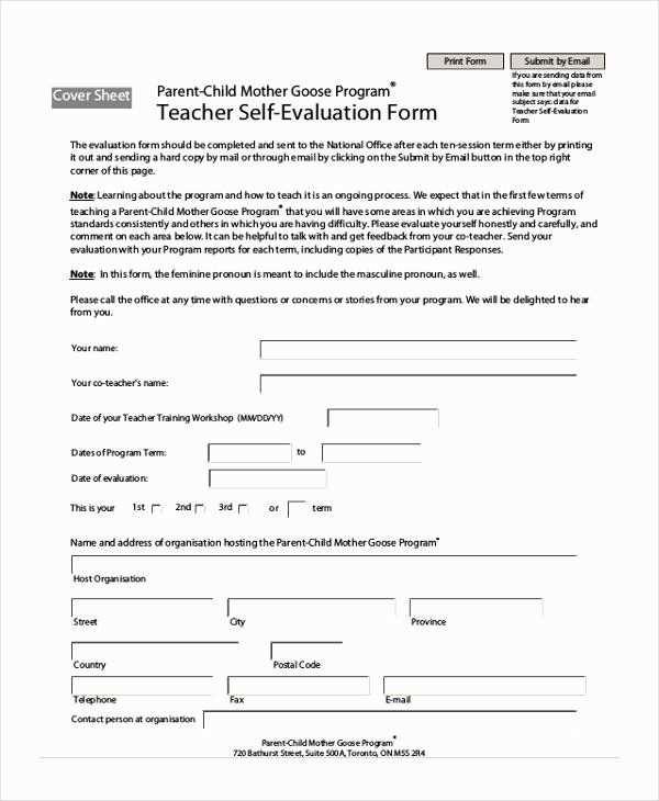 Preschool Teacher Evaluation Forms Elegant Free 21 Self Evaluation