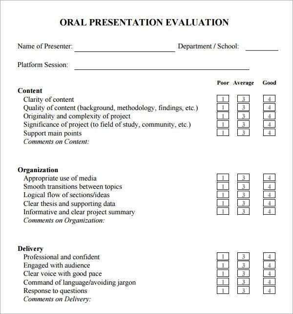 Oral Presentation Evaluation Form Evaluation Form Presentation