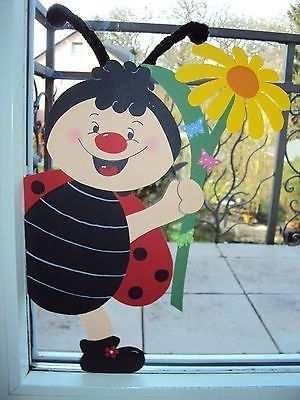 Fensterbild Tonkarton Fruhling Fenstergucker Ein Marienkafer Junge
