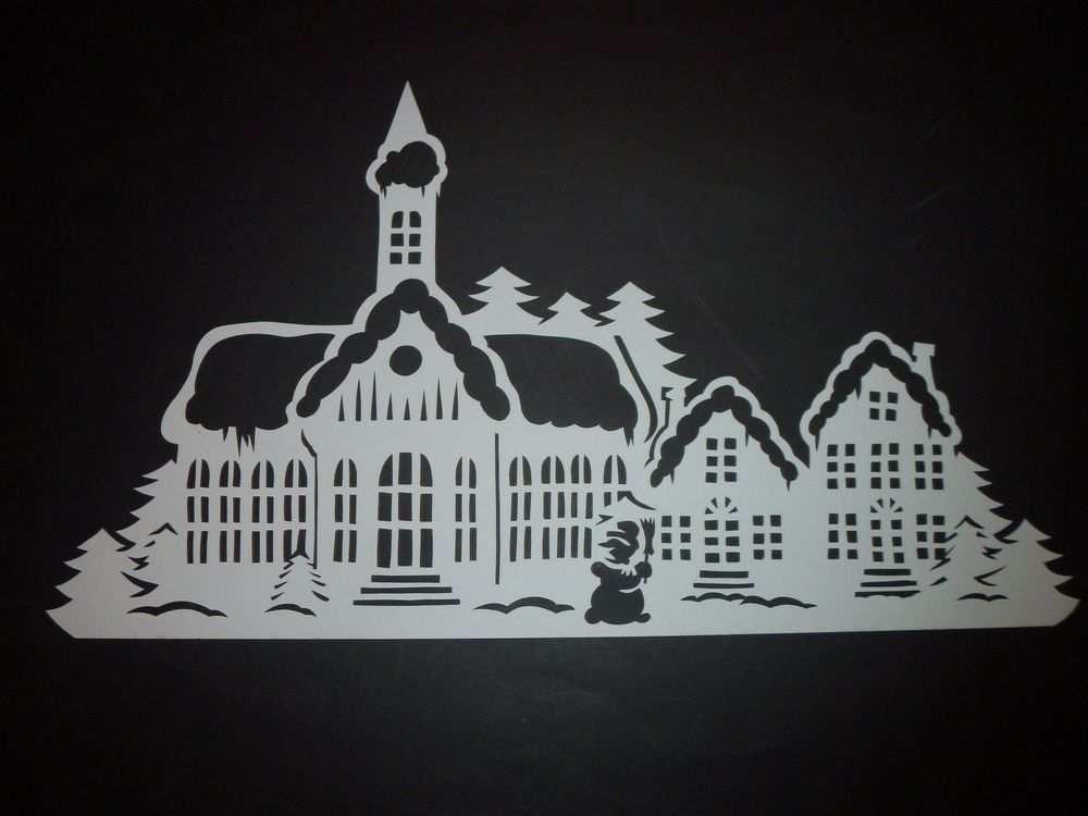 Winterstadt Filigranes Fensterbild Aus Tonkarton Winter