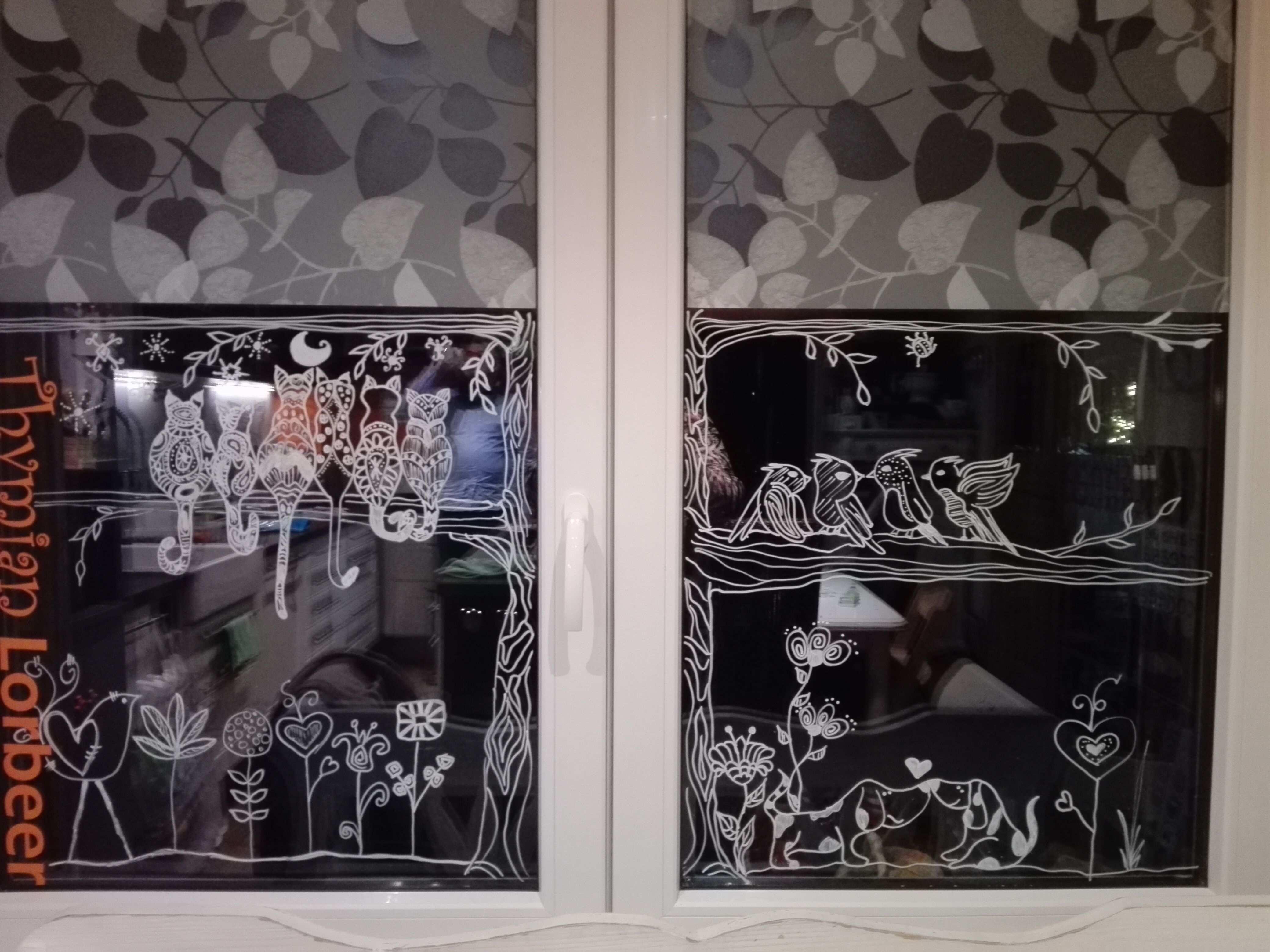 Katzen Hunde Und Vogel Mit Kreidemarker Fensterbilder