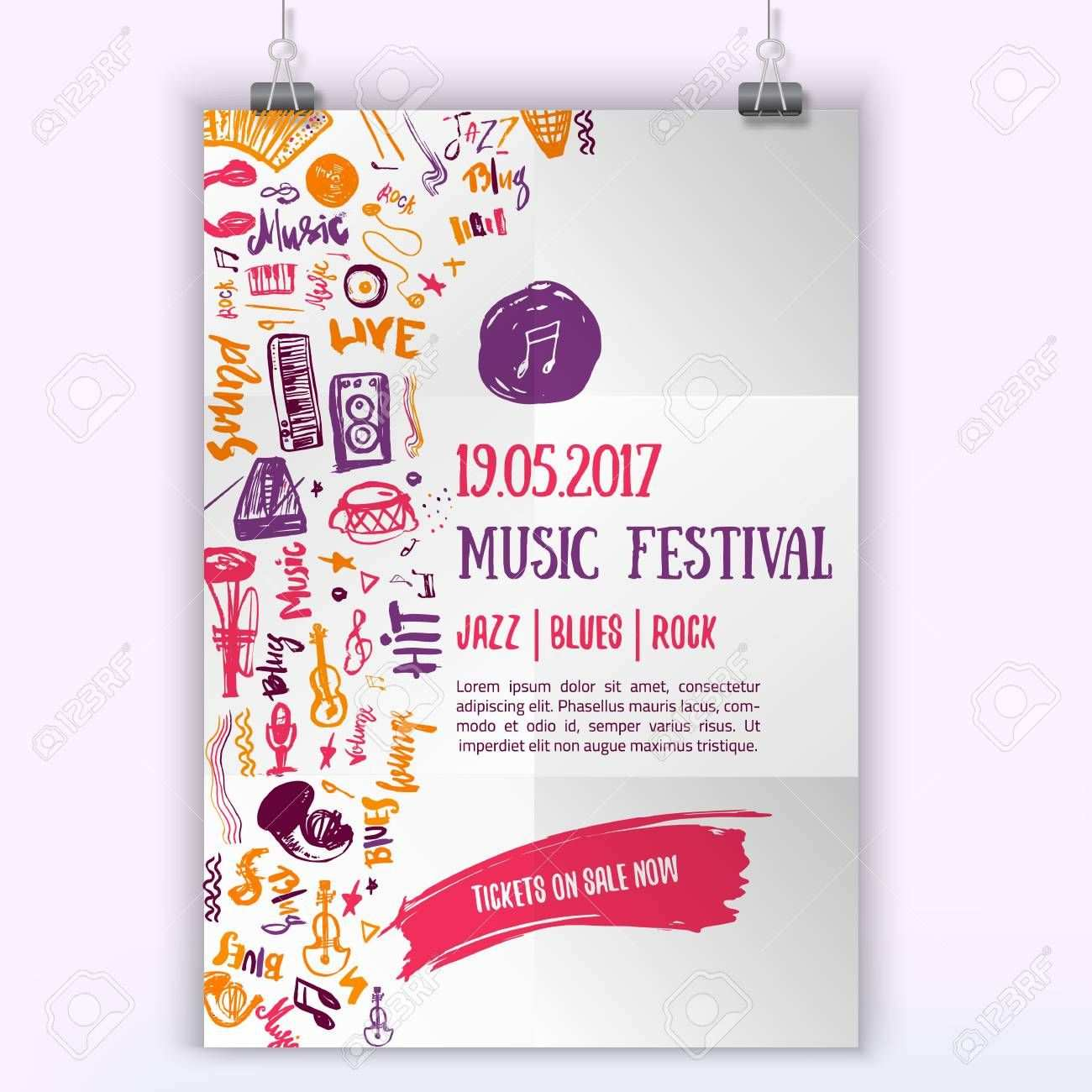 Music Concert Vector Poster Template Can Be Used For Printable