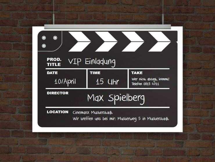 Druckeselbst Einladungskarte Kinogeburtstag Als Filmklappe