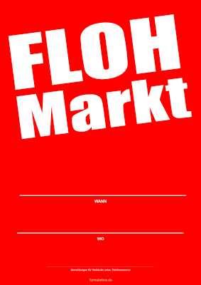 Plakat Flohmarkt Rot Pdf Vorlage Zum Ausdrucken