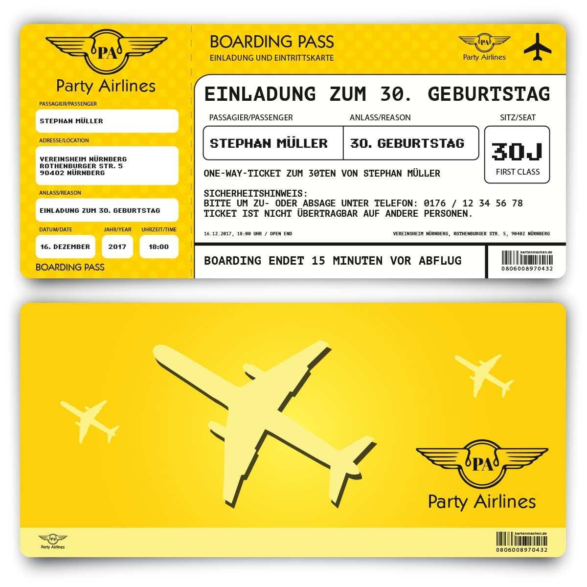Einladungskarten Als Flugticket In Gelb Zum Geburtstag Bestellen